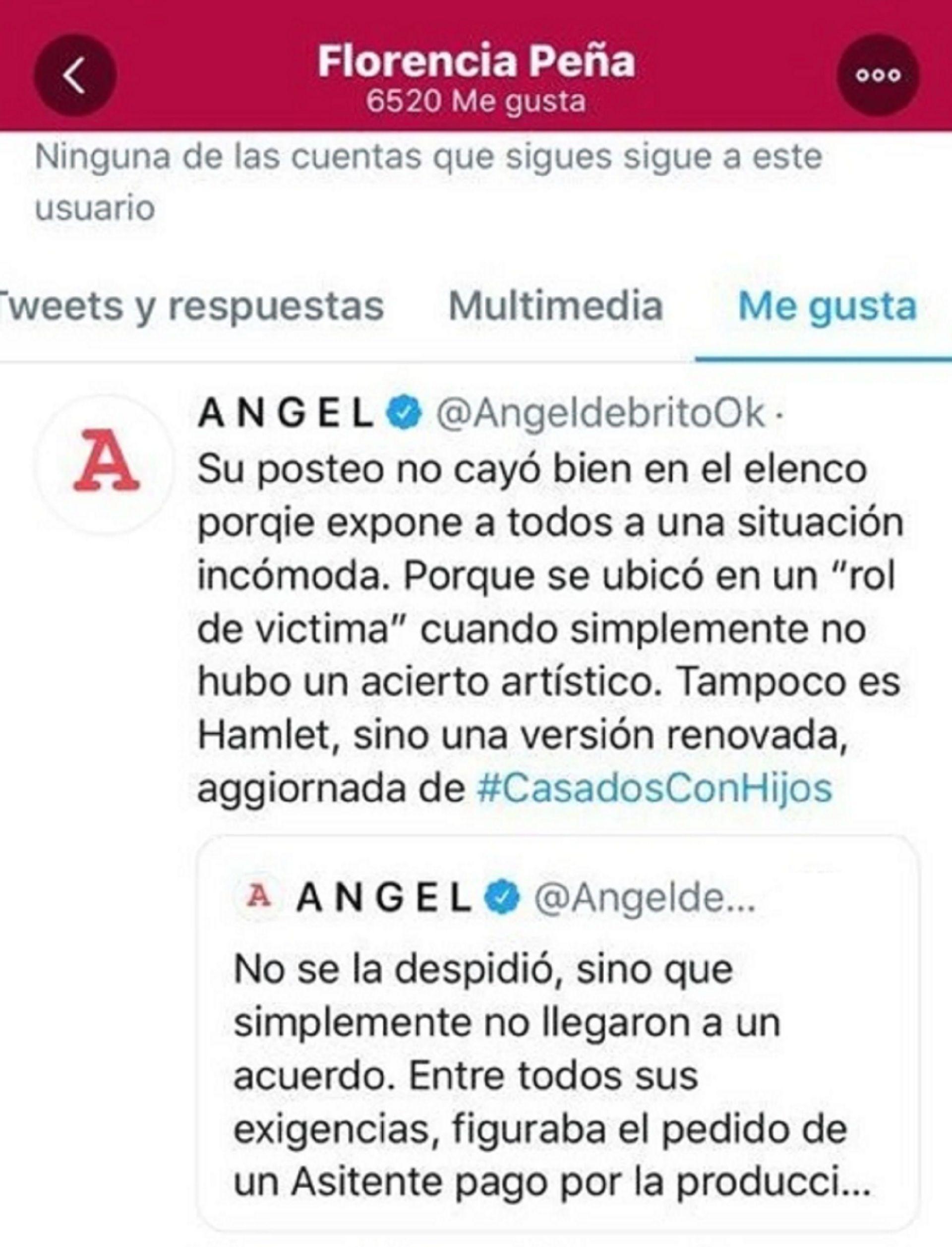 """Los """"me gusta"""" de Florencia Peña en Twitter"""