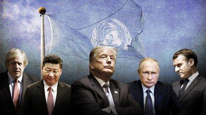De izquierda a derecha, Boris Johnson, Xi Jinping, Donald Trump, Vladimir Putin y Emmanuel Macron, mandatarios de Reino Unido, China, Estados Unidos, Rusia y Francia, los cinco miembros permanentes del Consejo de Seguridad de la ONU