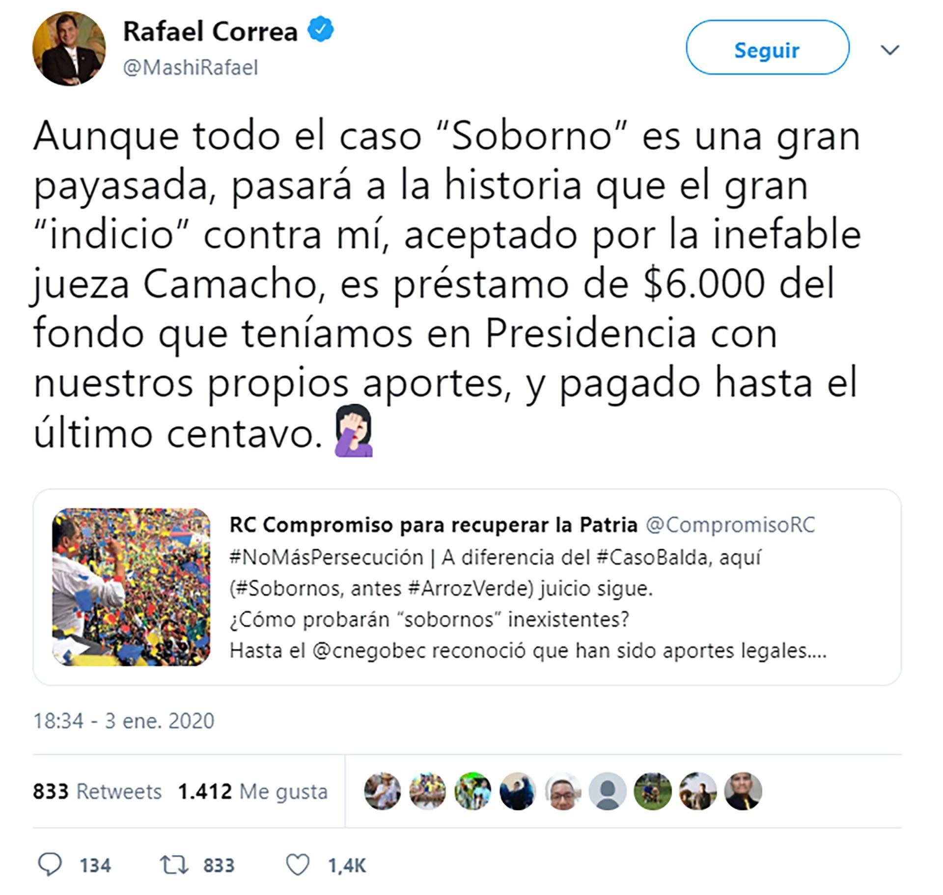Rafael Correa reaccionó en Twitter
