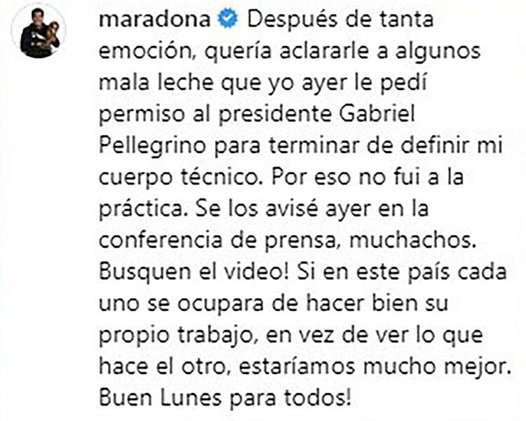 El mensaje que Maradona compartió en su cuenta de Instagram y luego eliminó