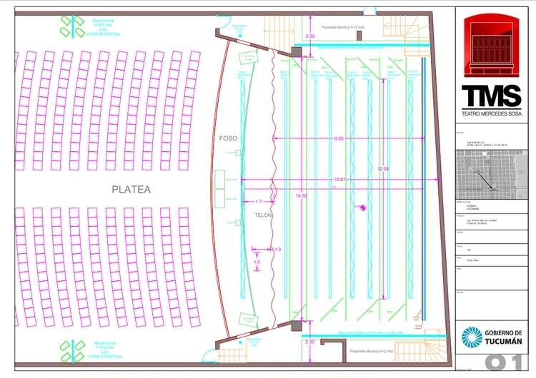 El plano de la sala (Crédito: Teatro Mercedes Sosa)