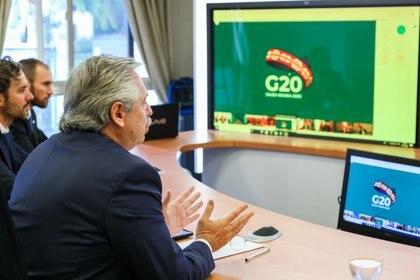 Alberto Fernández en la videoconferencia con los presidentes del G20 (Presidencia)