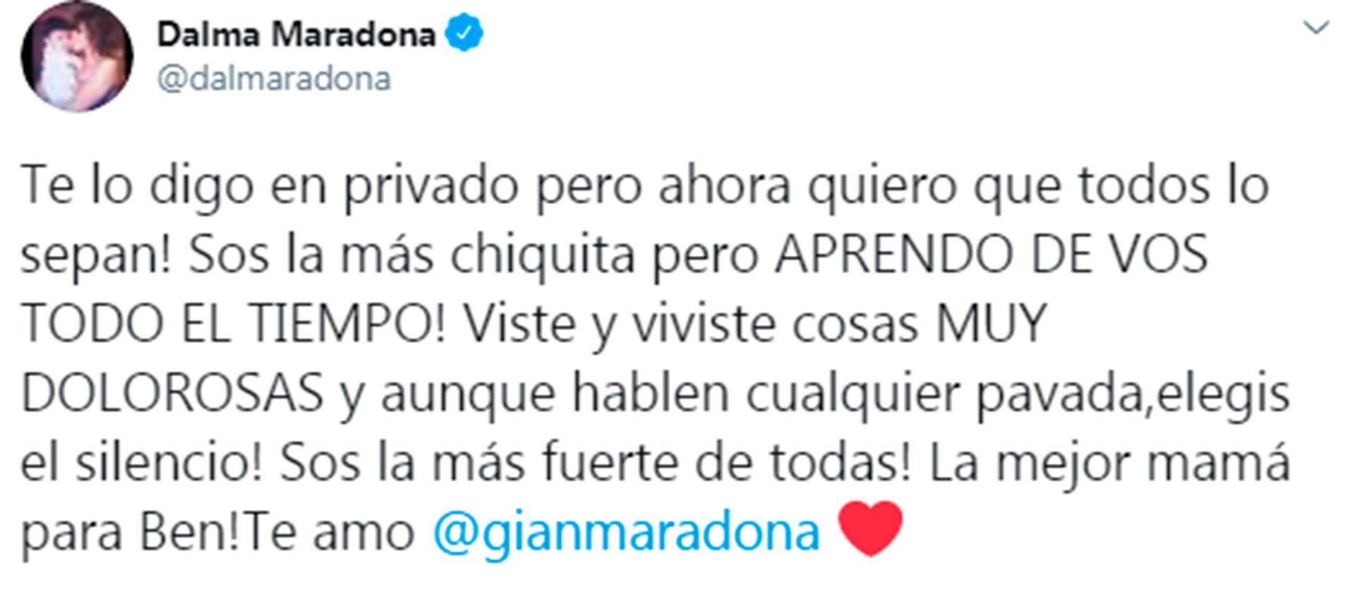 Mensaje de Dalma Maradona
