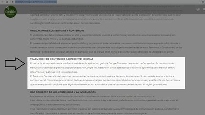 De acuerdo con la agencia Córdoba Turismo la utilización de dicha herramienta está explicitada en la sección Términos y Condiciones de la Web.