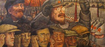 Mural de Diego Rivera sobre la Revolucion Rusa