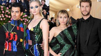 Joe Jonas y Sophie Turner, en tándem. Miley Cyrus y Liam Hemsworth combinaron verde con negro.