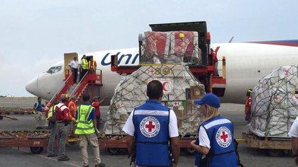 Así llegaba el primer cargamento de ayuda humanitaria a Veenzuela (@NTN24ve)