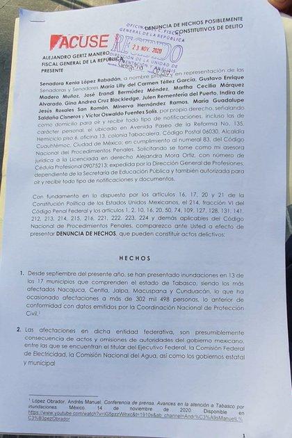La senadora panista presentó la denuncia penal ante la FGR este lunes (Foto: Especial)