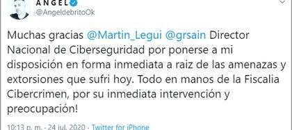 El mensaje que Ángel De Brito publicó en Twitter