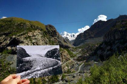 Una foto del Glaciar Gorner tomada en 1863 en Zermatt, Suiza y publicada por la Biblioteca ETH de Zurich, se exhibe en el mismo lugar el 25 de agosto de 2019 (Reuters/ Denis Balibouse Glaziologische Kommission der Akademie der Naturwissenschaften Schweiz/ETH Library Zurich)