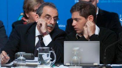 Guillermo Moreno y Axel Kicillof, juntos, cuando eran funcionarios del gobierno de Cristina Kirchner (foto NA)