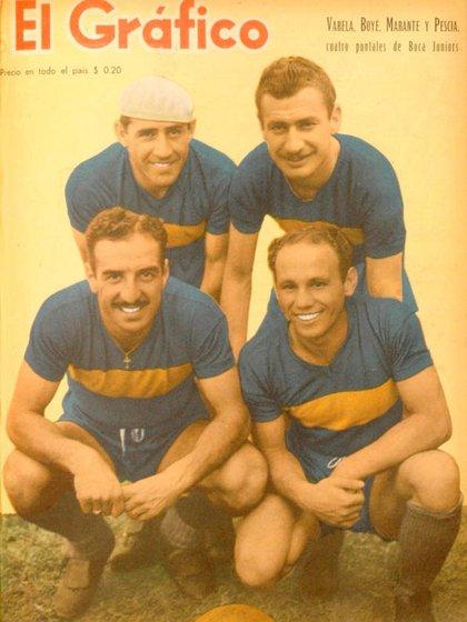 Portada de El Gráfico con Varela, Boyé, Marante y Pescia, cuatro grandes referentes de la historia de Boca Juniors