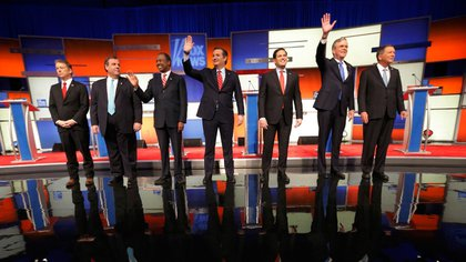 Candidatos republicanos durante un debate en Fox News en 2016 (Reuters/archivo)