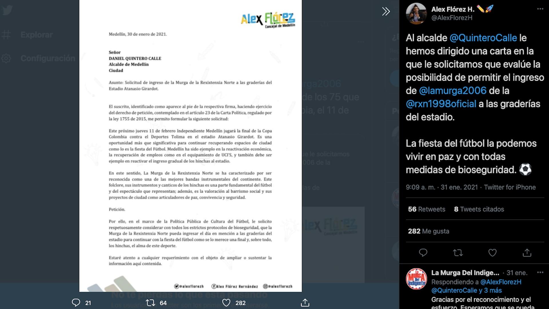 Concejal Álex Flórez envió carta a la Alcaldía de Medellín para gestionar los permisos para la entrada de hinchas al Atanasio Girardot en la final de la Copa Colombia 2020 / (Twitter: @AlexFlorezH).
