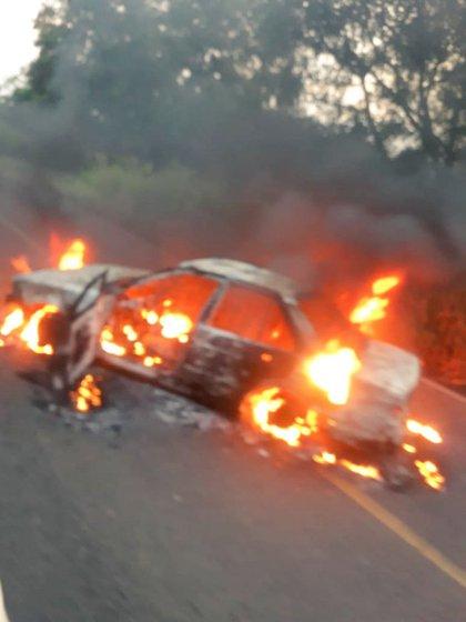 Narcobloqueos en Acayucan, Veracruz (Foto: Especial)
