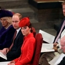 Britain's Kate, Duchess of Cambridge, foreground centre, sits with Prince William, Camilla, the Duchess of Cornwall and Prince Charles, front row, Prince Andrew, background right, Meghan, the Duchess of Sussex and Prince Harry, at the Commonwealth Service at Westminster Abbey in London, Monday, March 11, 2019. Commonwealth Day has a special significance this year, as 2019 marks the 70th anniversary of the modern Commonwealth - a global network of 53 countries and almost 2.4 billion people, a third of the world's population, of whom 60 percent are under 30 years old.