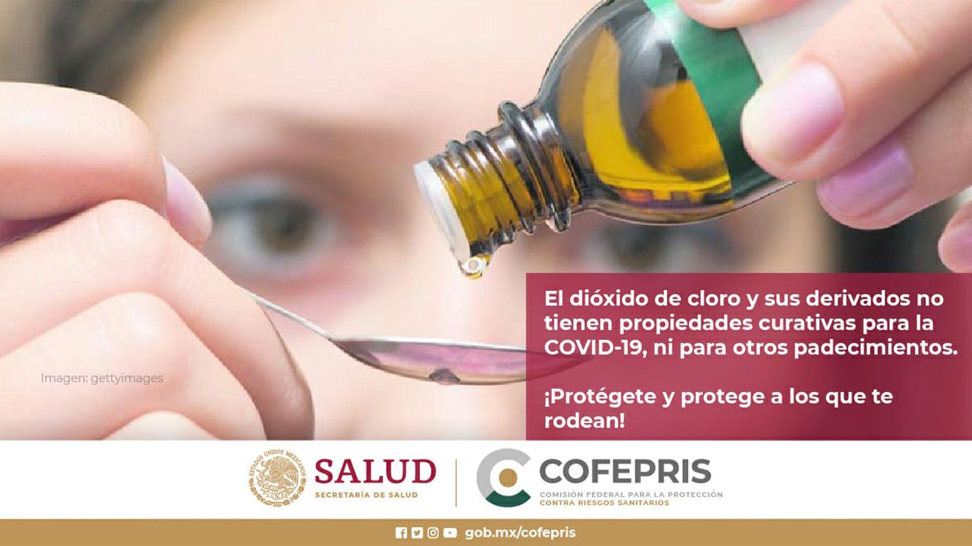 dióxido de cloro (Foto: Twitter@COFEPRIS)