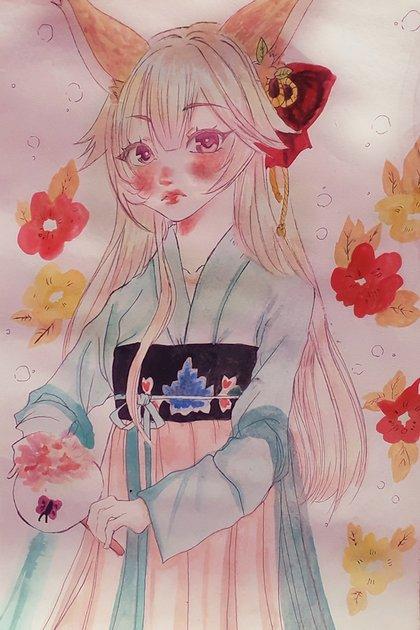 Otra acuarela de Agüero inspirada en un hada japonesa. Los psicólogos que revisaron a Abril creen que la artista la manipulaba.