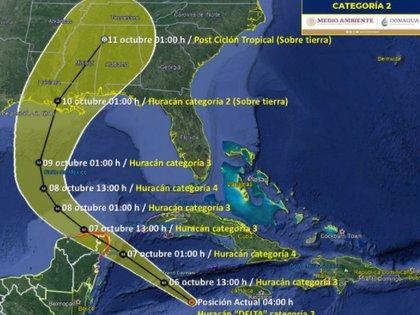 Trayectoria actualizada del huracán Delta del 6 al 10 de octubre (Foto: SMN/Conagua Clima)
