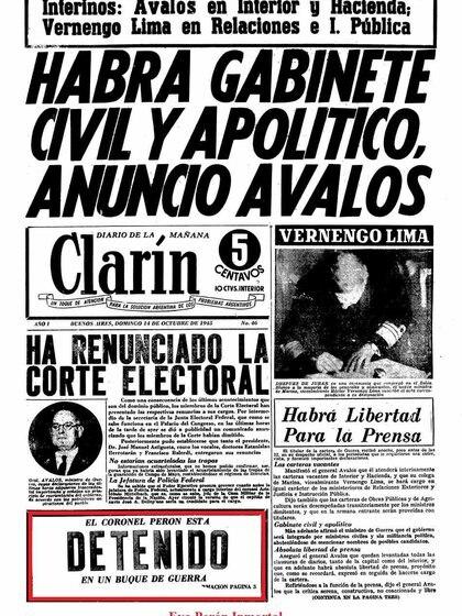 La tapa de los diarios con la detención del coronel Perón