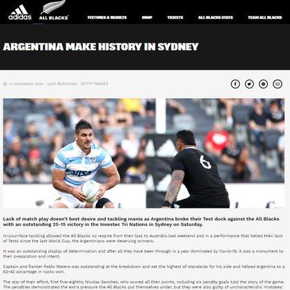 Así reflejó la noticia el sitio oficial de los All Blacks.