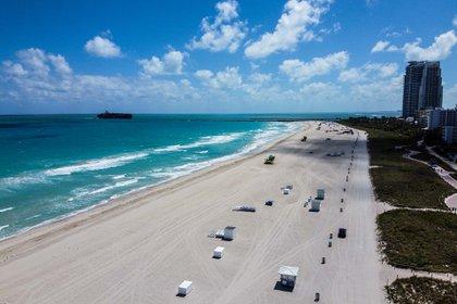 La playa de Miami Beach el 20 de marzo. (AFP)