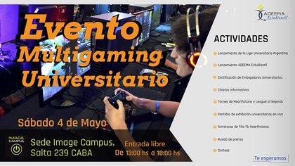 La invitación al evento del lanzamiento de la Liga Universitaria Argentina (LUA), con entrada libre y gratuita.