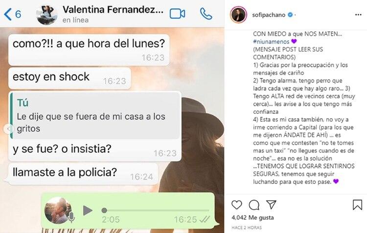 La segunda parte de la charla que publicó Sofía Pachano con una amiga sobre el episodio que vivió el pasado lunes