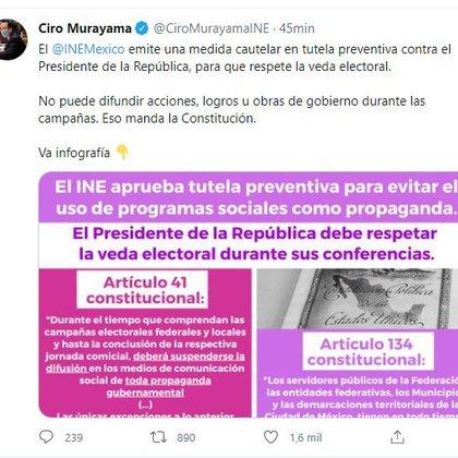 El INE emitió una medida cautelar en tutele preventiva contra el Presidente de la República (Foto: captura de pantalla de Twitter @CiroMurayamaINE).