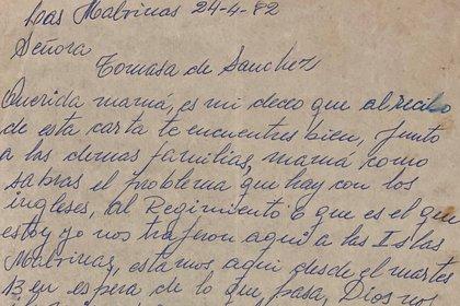 Tramo de una de las cartas que Ochoa le escribió a su madre. (Gentileza Museo Nacional de Malvinas)