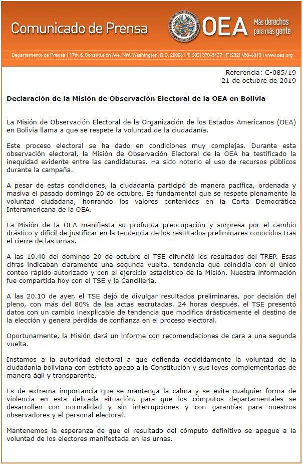 El comunicado de la OEA (@OEA_oficial)