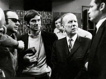 Hugo Santiago, Ricardo Aronovich, Jorge Luis Borges y Lautaro Murua