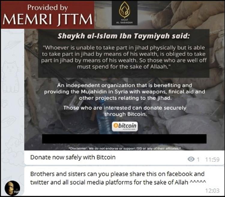 En Siria los grupos terroristas cada vez usan las criptomonedas de manera más sofisticada. La captura ha sido alterada para ocultar datos de contacto y una dirección de Bitcoin (CreditVía Middle East Media Research Institute)