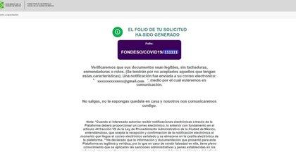El sistema te dará un folio de registro (Foto: captura de pantalla: Fondo para el Desarrollo Social de la CDMX)