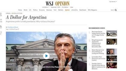 """""""Un dólar para Argentina"""", el título original de la nota"""