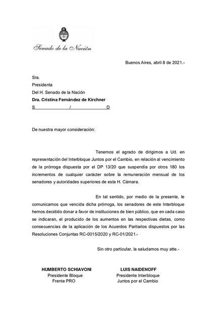 La carta del bloque del Frente de Todos