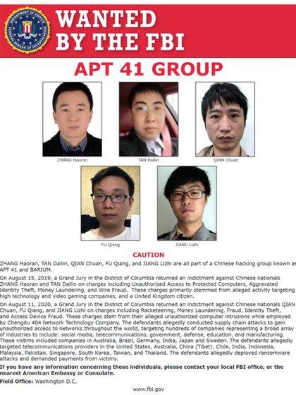 Los cinco hackers chinos buscados por Estados Unidos (Departamento de Justicia de Estados Unidos)
