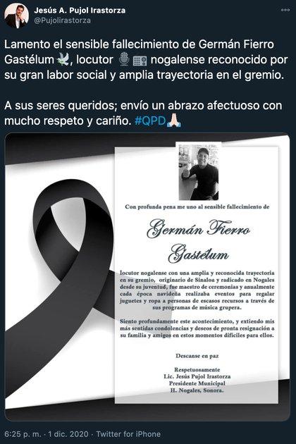 Germán Fierro locutor (Foto: Twitter@Pujolirastorza)