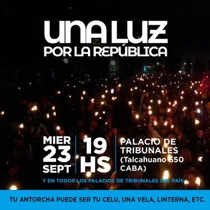 La convocatoria virtual es impulsada con el hashtag #23SUnaLuzPorLaRepublica.