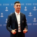 Juventus' soccer player Cristiano Ronaldo poses to the photographers before the UEFA Champions League group stage draw at the Grimaldi Forum, in Monaco, Thursday, Aug. 29, 2019. (AP Photo/Daniel Cole)