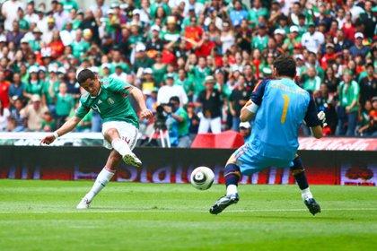 Con gol de Javier Hernández, la selección mexicana de fútbol se adelantó 1-0 a su similar de España (Foto: Isaac Esquivel/ Cuartoscuro)