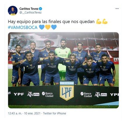 """Tuit de Carlos Tevez: """"Hay equipo para las finales que nos quedan""""."""