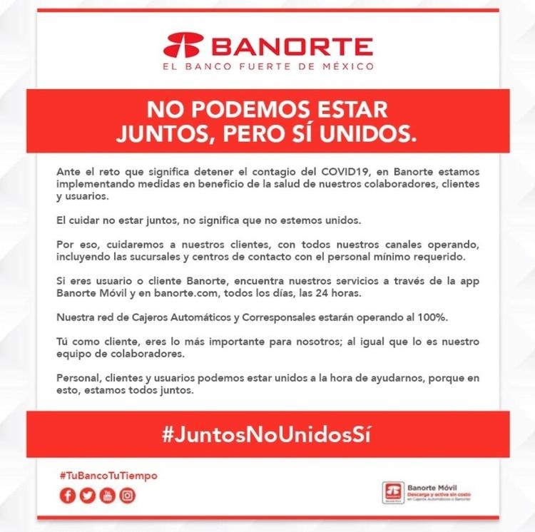Banorte toma medidas para beneficio de sus clientes (Foto: Twitter@Banorte_mx)