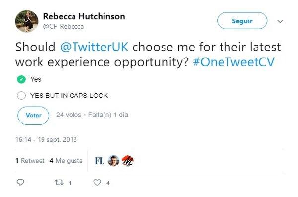 """""""¿Debería @TwitterUK elegirme para su última propuesta laboral? Sí y SÍ pero con mayúsculas"""""""
