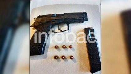 El arma entregada por el hijo de Ríos a la Bonaerense, hoy parte de la causa.