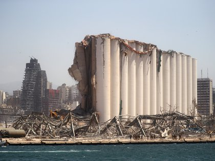 A general view shows the damaged grain silo following Tuesday's blast in Beirut's port area, Lebanon August 8, 2020. REUTERS/Hannah McKay