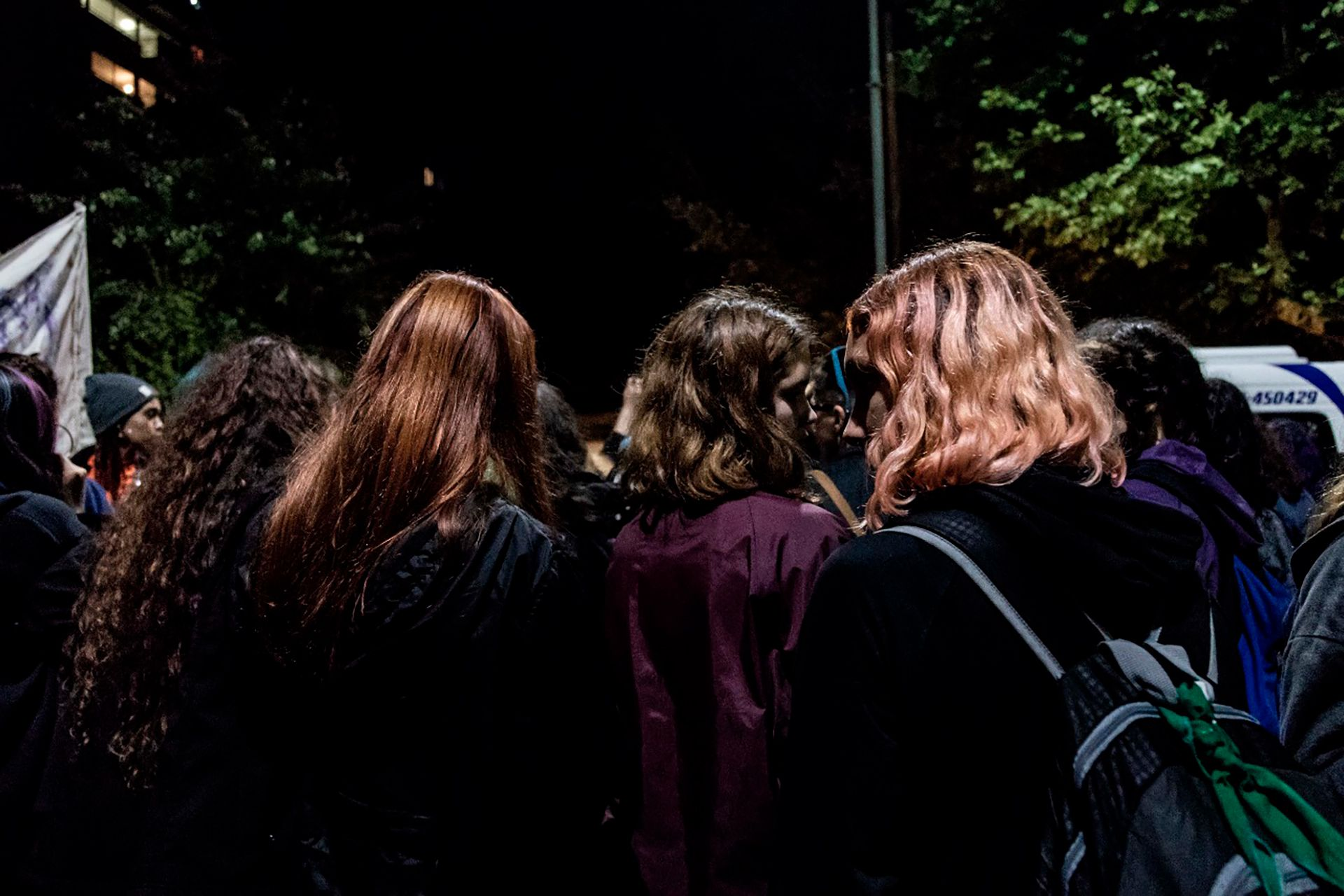 Jóvenes durante una protesta contra los asesinatos de personas transgénero, celebrada en el Encuentro Nacional de Las Mujeres