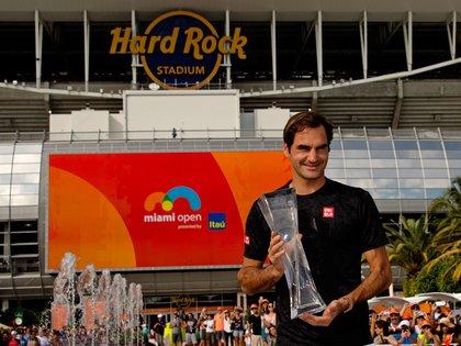 Federer luego de ganar el Miami Open en 2019