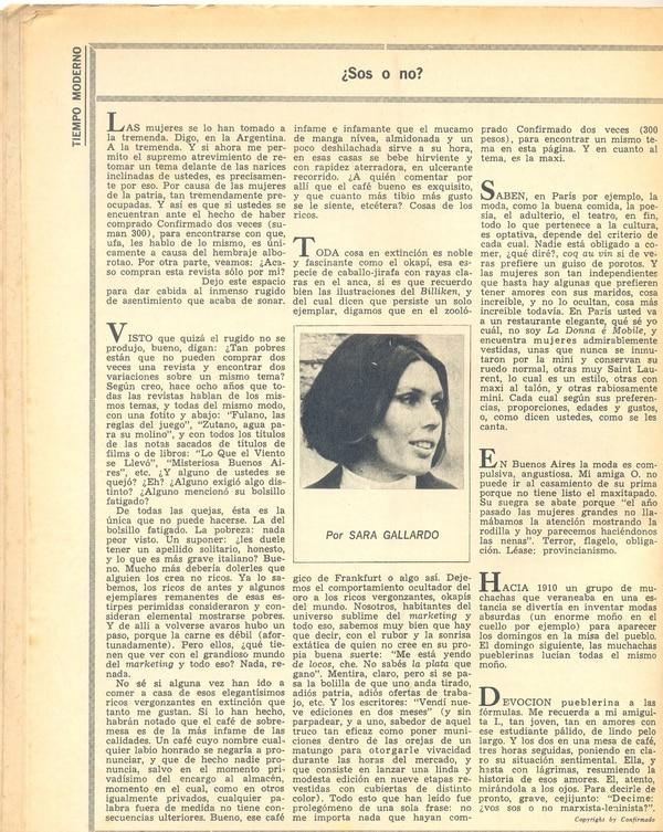 """Sara Gallardo tenía una columna muy particular en la revista """"Confirmado"""""""