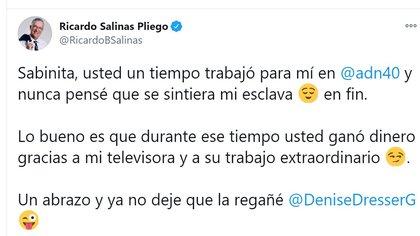Ricardo le recordó a Berman cuando trabajaba para él (Foto: Twitter / @RicardoBSalinas)